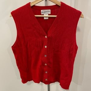 Pendleton 100% Cotton Red Ribbed Sweater Vest